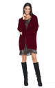 Open Front Oversized Cardigan in Maroon by Makadamia