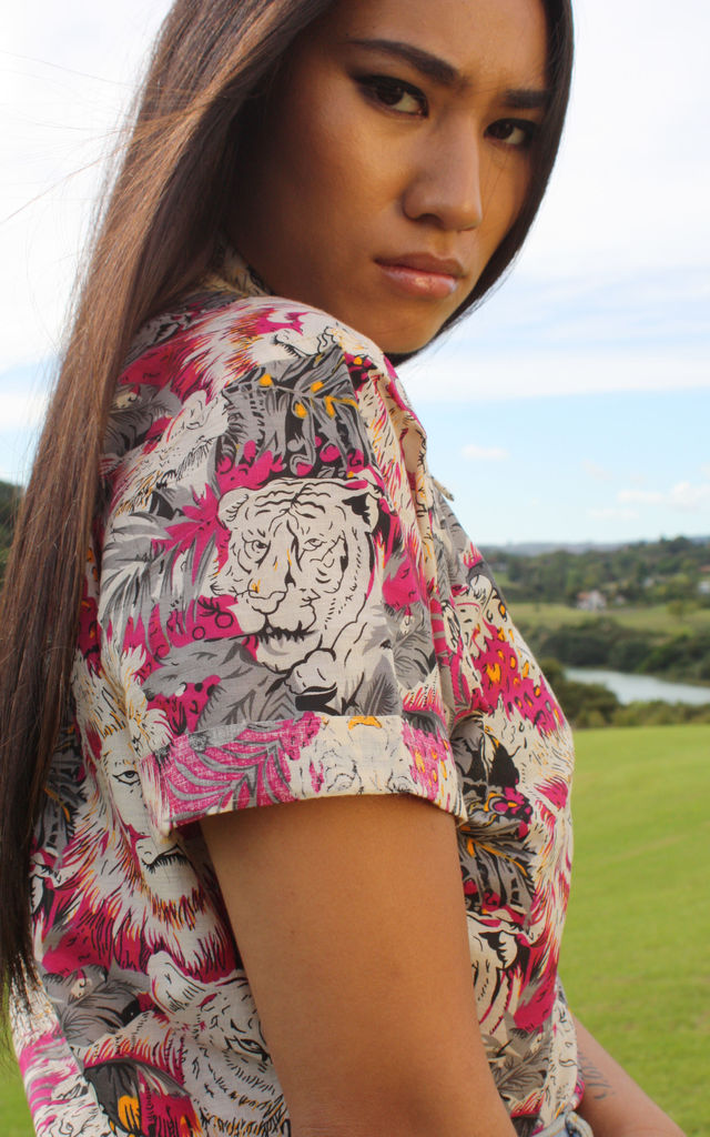 Clair Hot Pink Lion Print Cotton Hawaiian Shirt by Krissyfied Boutique