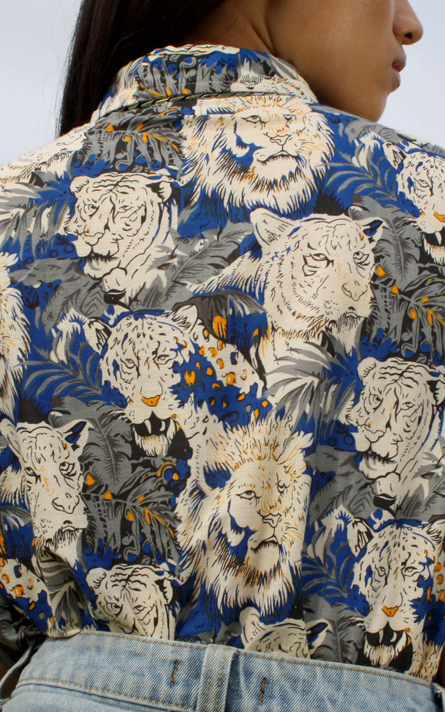 Clair Electric Blue Lion Print Cotton Hawaiian Shirt by Krissyfied Boutique