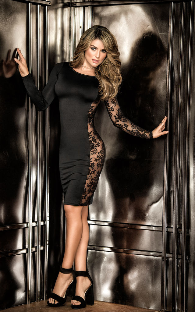 Black Bodycon Dress with Lace Insert Side Detail by MAPALE