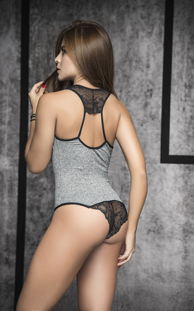 Bodysuit with Plunging neck in Grey and Black Lace by MAPALE