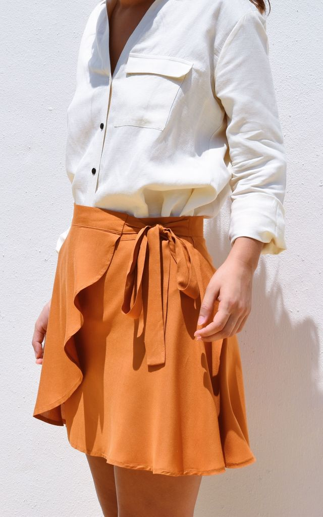 Wrap Around Beach Skirt Orange by Ararose Clothing