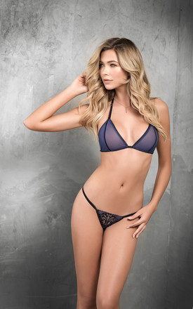 3 Piece Lingerie Bralette, Thong and Garter set in Navy and Black by MAPALE
