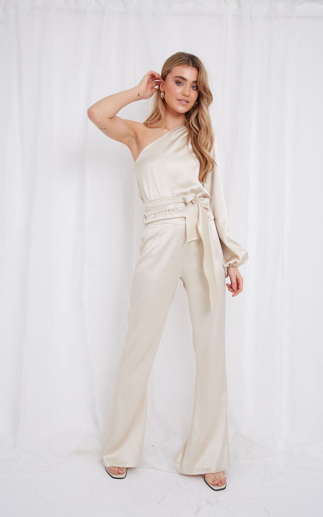 Amari Flared Trousers - Champagne by Pretty Lavish
