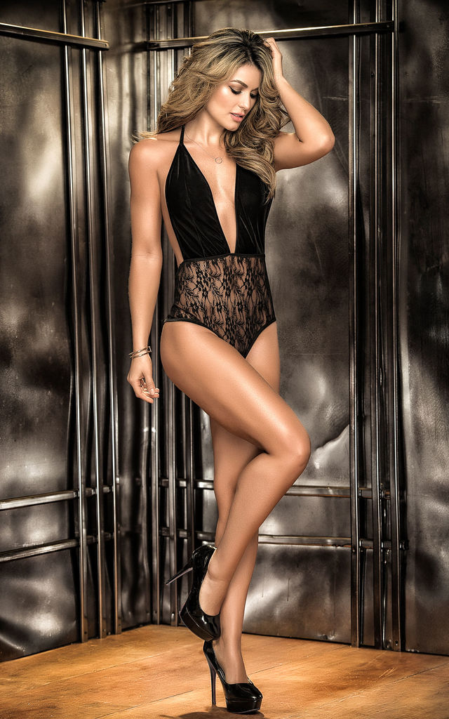 Luxurious Teddy Bodysuit with a Mix of Velvet & Lace in Black by MAPALE