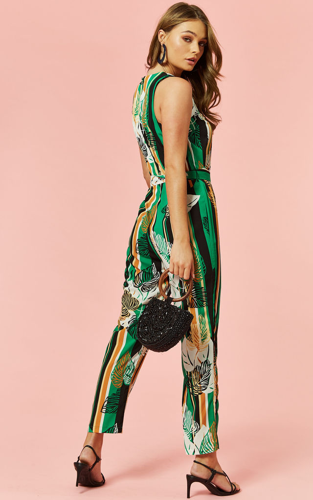 sleeveless jumpsuit in green stripe leaf print by Glamorous