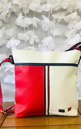 Red/White Patchwork Crossbody Bag by Pink Lemonade Boutique Product photo