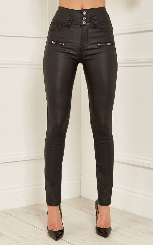 Black Stacey High Waisted Wax Coated 3 Button Trousers by Bella and Blue