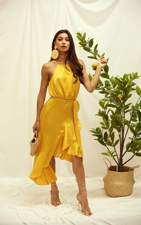 Ariana Yellow Satin Halter Frill Dress by Style Cheat Product photo