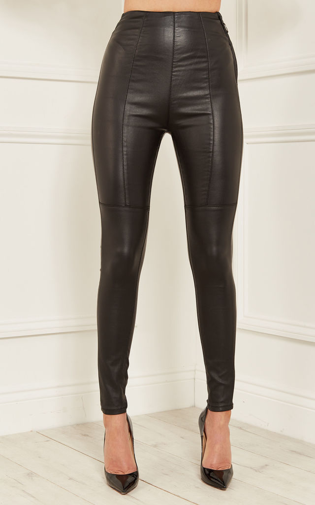 Black Faye High Waisted Wax Coated Side Zip Trousers by Lilah Rose