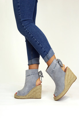 Grey Suedette Wedge Shoes by Styled Clothing Product photo