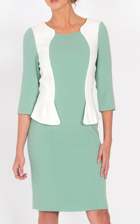 Andalucia Peplum Dress In Mint And White by LAGOM Product photo