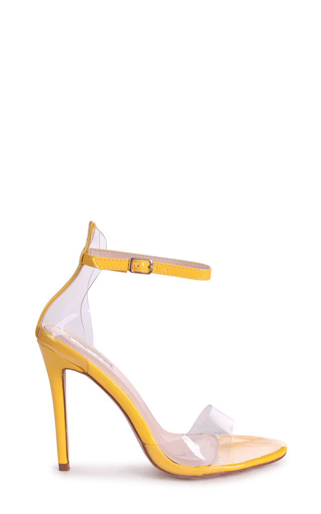 Feisty Yellow Patent Perspex Stiletto Heel by Linzi