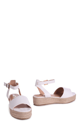 Destiny White Croc Nappa Espadrille Inspired Two Part Flatform With Buckle Detail by Linzi