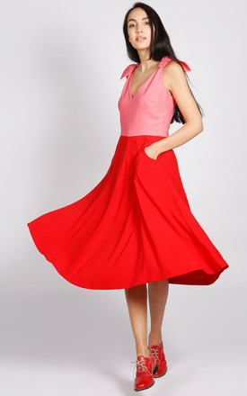 Bonbon V Neck Dress In Red And Pink by LAGOM Product photo