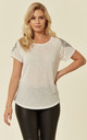 Stud embellished sleeves T-shirt in White by CY Boutique