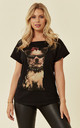 Cute Dog with Sunglasses Print T-shirt in Black by CY Boutique