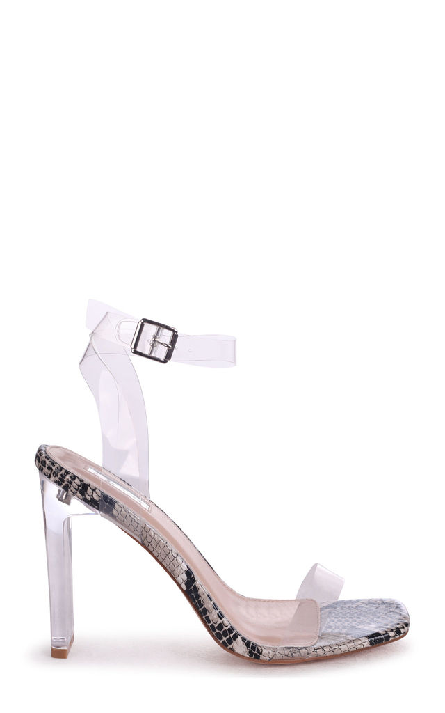 Evie Snake Print All Over Perspex Slim Heeled Sandal With Square Toe by Linzi