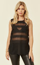 Stripe Mesh Chiffon Vest Top in Black by CY Boutique
