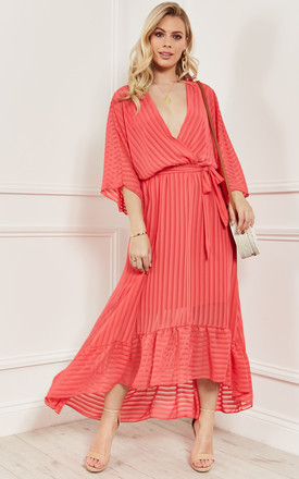 Coral Plunge Maxi Dress by Bella and Blue Product photo