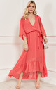 Coral Plunge Maxi Dress by Lilah Rose