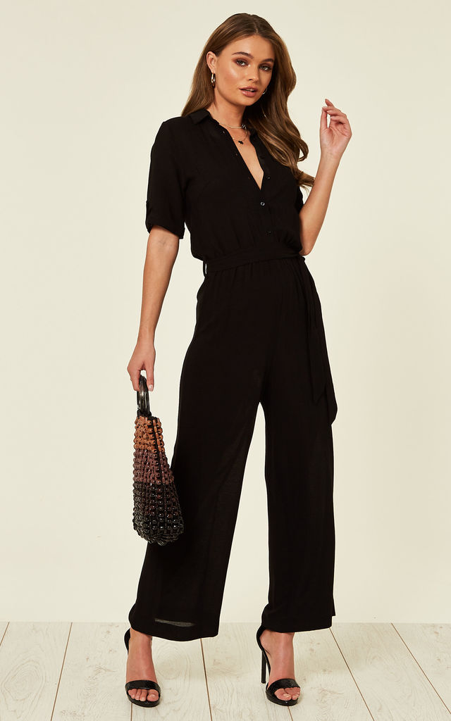 Black Roll up Sleeve Jumpsuit by Clothes Minded