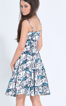 Chicago Strappy Dress In Blue Bird Print by LAGOM Product photo