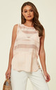 Stripe Mesh Chiffon Vest Top in Pink by CY Boutique