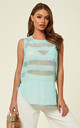Stripe Mesh Chiffon Vest Top in Mint by CY Boutique