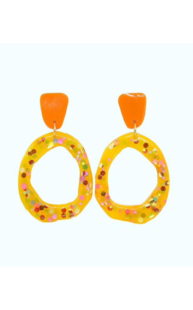 Fleur Yellow And Orange Statement Earrings By Lual
