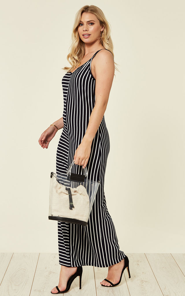 Strappy Maxi Dress in Navy and White Stripe by CY Boutique
