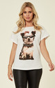 Cute Dog with Sunglasses Print T-shirt in White by CY Boutique