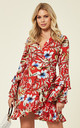 Moana Floral Wrap Dress Red by Studio Mouthy