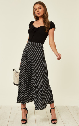ANNALEE – Black/White Stripe Pleated Culottes by Blue Vanilla