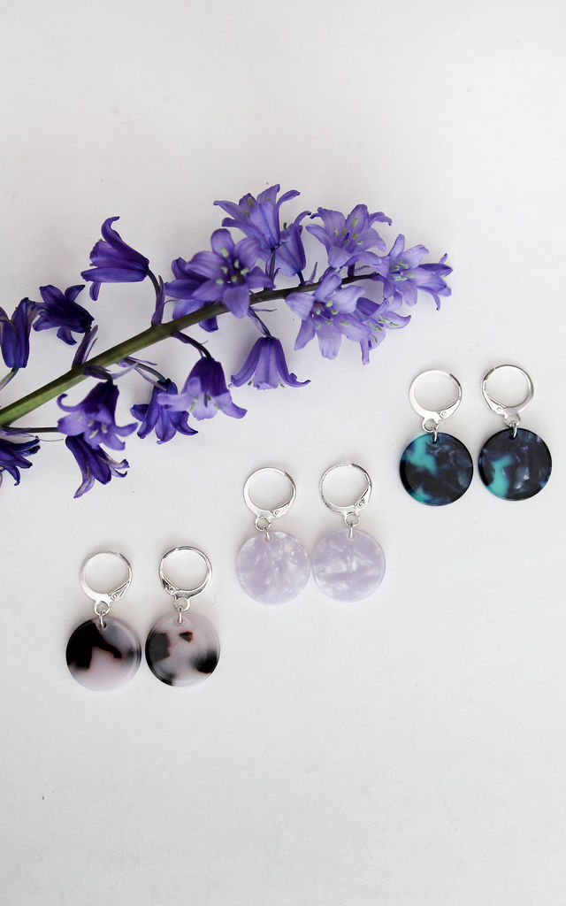 Set of Three Hoop Earrings with Zebra Print, Pearl and Blue Marble Discs by H A N A S