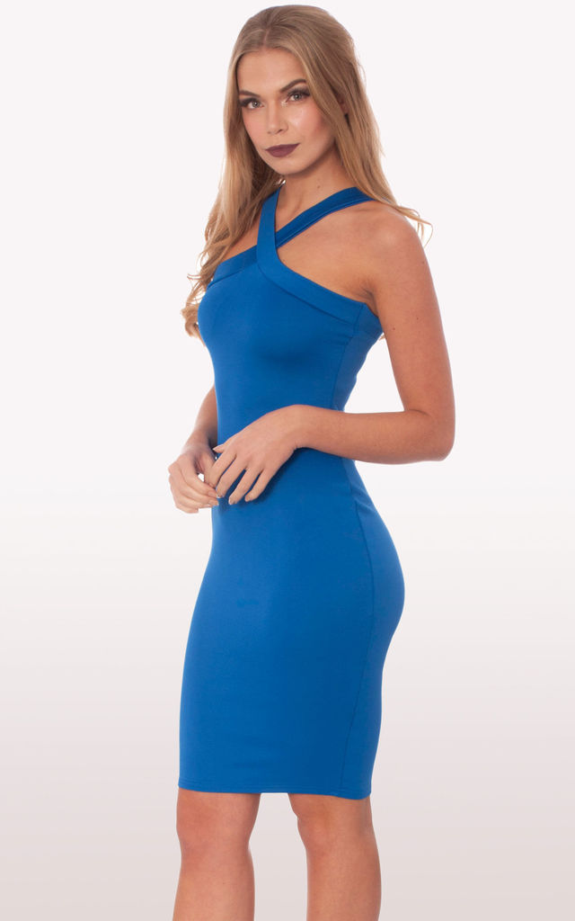 de2f1f97ee Zaria Royal Blue Scuba Bodycon Midi Dress by Modamore