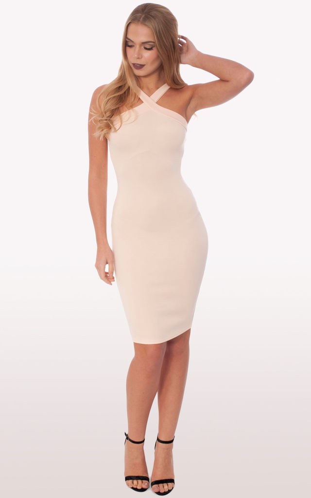 226c01e2e6 Zaria Blush Scuba Bodycon Midi Dress by Modamore