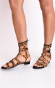 Leopard print faux suede strappy gladiator flat sandals multi by LILY LULU FASHION