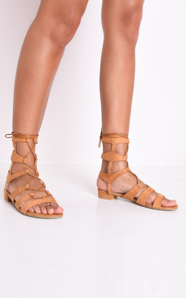 Strappy gladiator flat sandals camel brown by LILY LULU FASHION