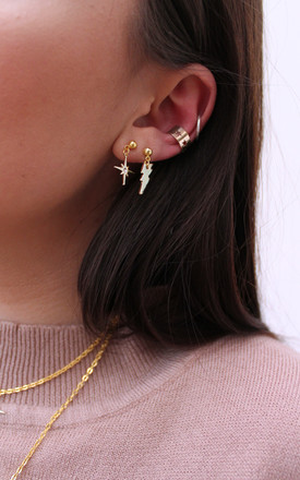 Gold Earrings with Celestial Star and Lightening Bolt Charms and Ear Cuff Set by H A N A S