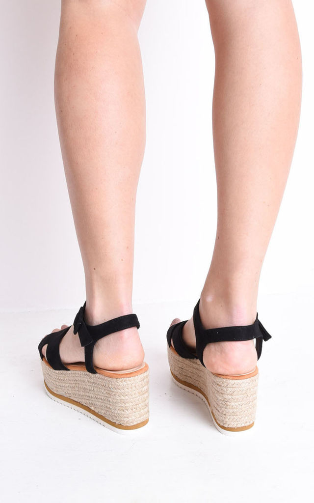 Flatform braided espadrilles wedge sandals black by LILY LULU FASHION