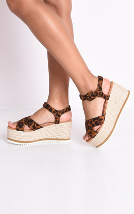 Leopard animal print espadrilles wedge sandals multi by LILY LULU FASHION