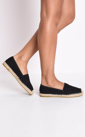 Faux suede flat espadrilles black by LILY LULU FASHION