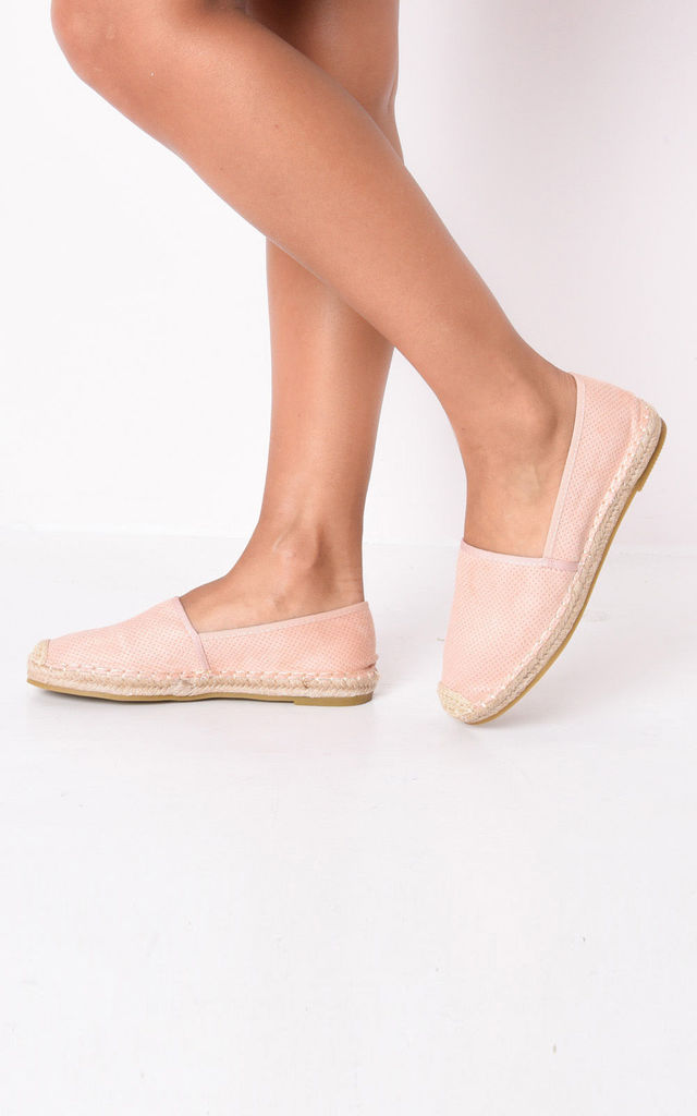 Faux suede flat espadrilles pink by LILY LULU FASHION