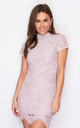 Emilia High Neck Lace Mini Dress Pink by Girl In Mind