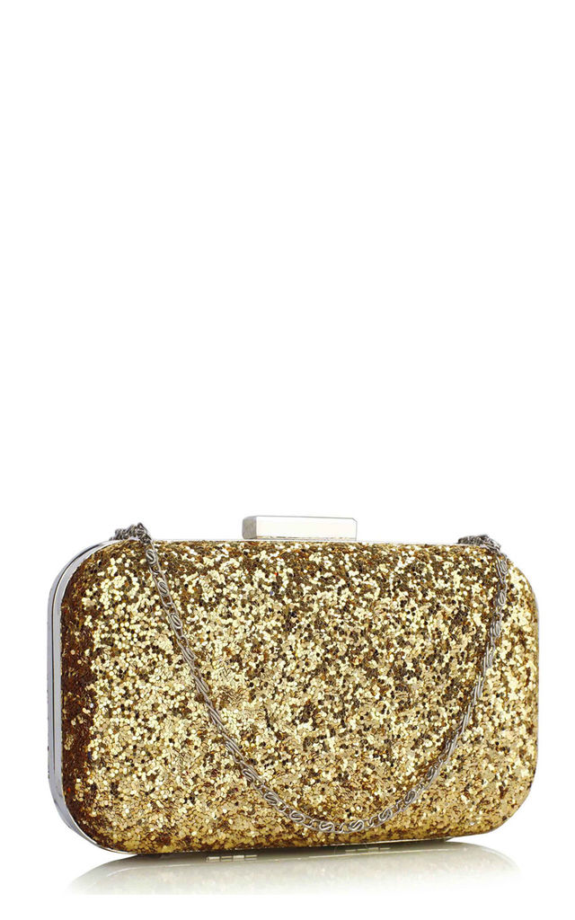 Evening Clutch Bag with Chain in Gold Glitter by Hello Handbag