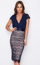 Natalya Pleated Plunge Lace Bodycon Midi Dress Navy by Girl In Mind