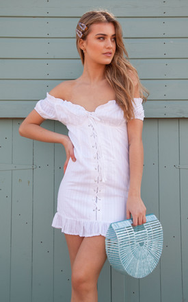 White Off The Shoulder Lace Up Mini Dress by Styled In London Product photo