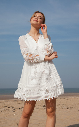White Crochet Lace Pom Pom Trim Mini Dress by Styled In London Product photo