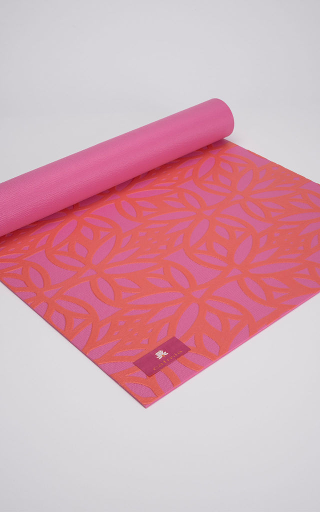 Coral/Pink Flow Eternal Lotus Yoga Mat by Calmia